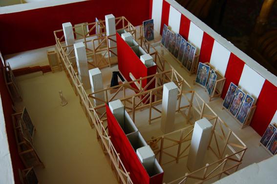 Macheta expoziţiei - detaliu sală 1