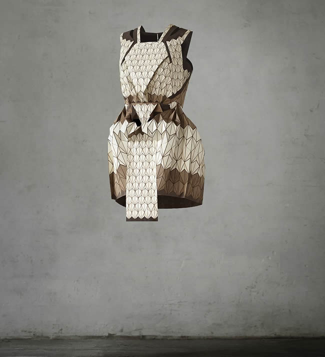 wooden textile dress, Lea Peckre