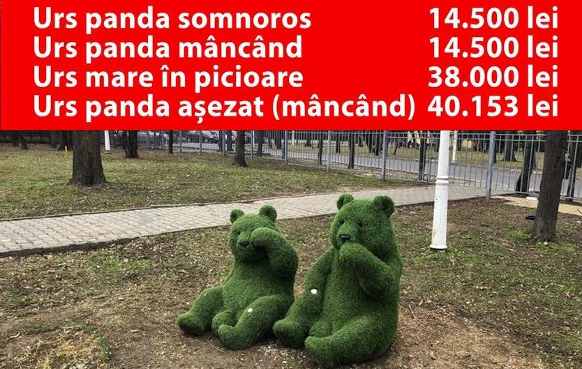 """Achiziții ale fostei conduceri a ADP Sector 1: """"Urs panda așezat"""": 50.153 de lei, """"Urs mare în picioare"""": 38.000 de lei"""