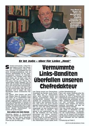 """Articol despre Deneş din """"Deutschland Magazin"""