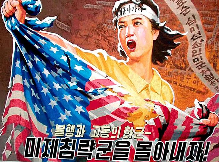 Afiş de propagandă anti-americană în Coreea de Nord