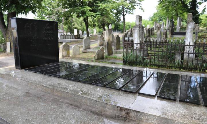 In apropiere el a fost ridicat un nou mormânt comun după descoperirea unui mormânt comun în 2010, în pădurea Vulturi, lângă orașul Propicani. Acesta conținea cadavrele a 36 de victime, 12 bărbați, 9 femei și 15 copii. Este vorba de evrei uciși de armata română în vara anului 1941. © Stéphanie Trouillard/France24