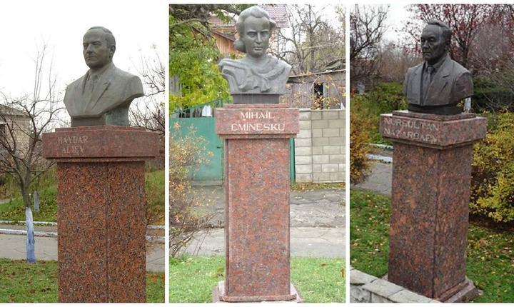 Pe alee bustul lui Eminescu stă față în față cu doi autocrați din foste republici sovietice: Haidar Aliyev al Azerbaidjanului (decedat) și Nursultan Nazarbaiev al Kazahstanului (în viață)