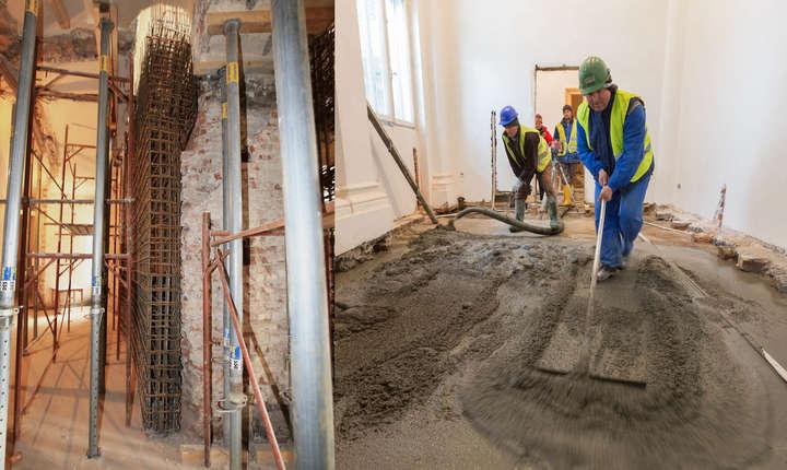 Armătura și turnarea betonului pentru lucrările de consolidare interioară