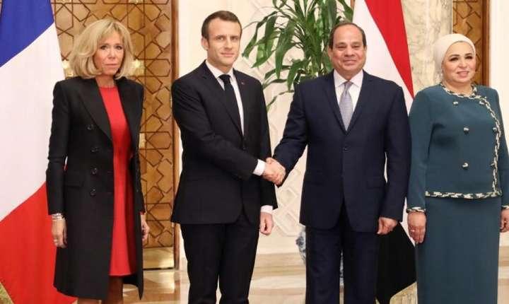 Emmanuel şi Brigitte Macron primiţi de Abdel Fattah al-Sissi şi soţia sa Intissar Amer, Cairo, 28 ianuarie 2019.