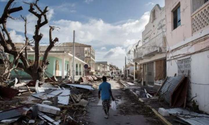 Strada la Saint-Martin dupa trecerea uraganului Irma