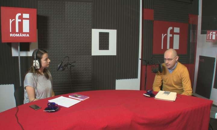 Andreea Pietroşel și Florin Buhuceanu in studioul RFI Romania