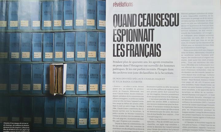 """L'Express publicà o anchetà pe 7 pagini despre """"cum îi spiona Ceausescu pe francezi"""""""