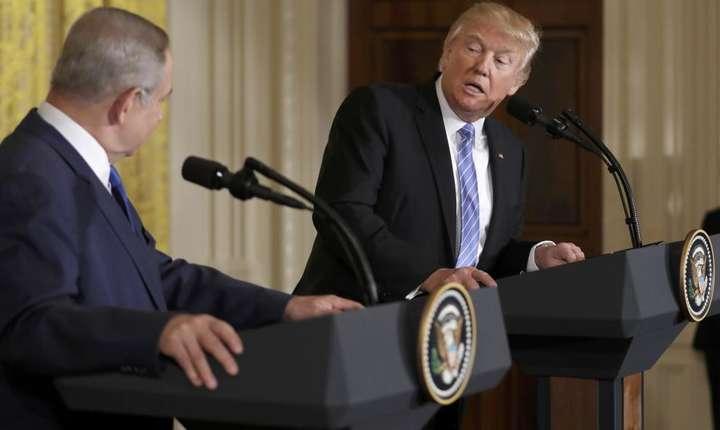 Benjamin Netaniahu si Donald Trump la Casa Alba pe 15 februarie 2017