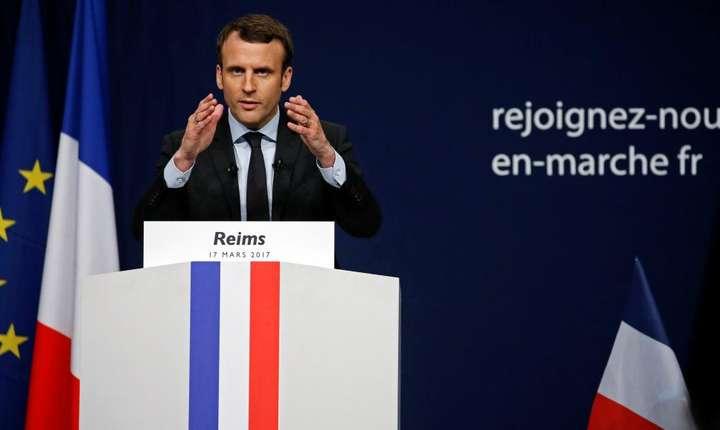 Emmanuel Macron în cursul unui discurs la Reims