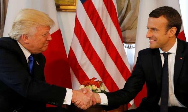 Donald Trump si Emmanuel Macron la Bruxelles, 25 mai 2017