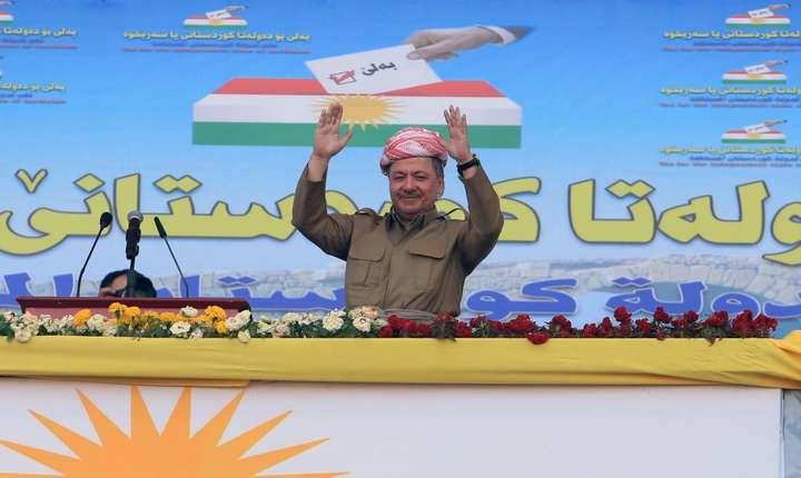 Preşedintele kurzilor irakieni, Masud Barzani, la un miting.