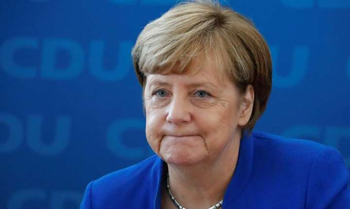Angela Merkel în octombrie 2017 dupa o conferinta de presa