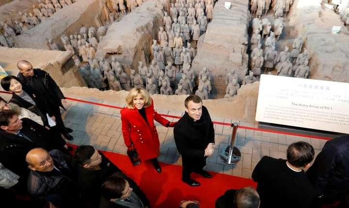 Emmanuel Macron în oraşul Xian, 8 ianuarie 2018