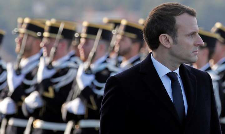 Emmanuel Macron pe 19 ianuarie 2018 cu ocazia alocutiunii de început de an rostita în fata armatei