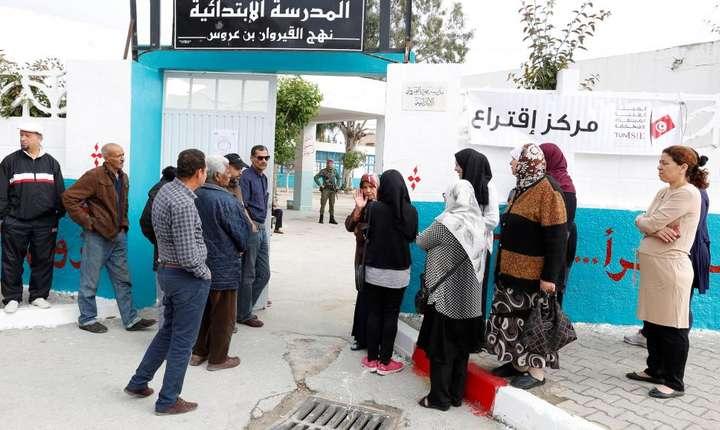 Birou de vot la Tunis, la alegerile municipale de pe 6 mai 2018.