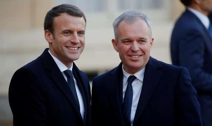 François de Rugy (la dreapta în fotografie) si Emmanuel Macron, la Palatul Elysée, decembrie 2017