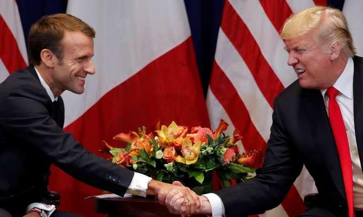 Emmanuel Macron si Donald Trump, 24 septembrie 2018, la sediul ONU de la New York