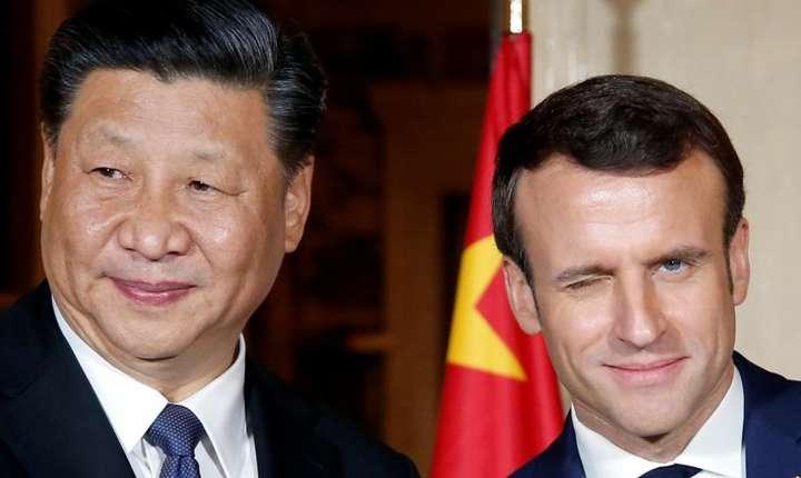Preşedintele chinez Xi Jinping şi preşedintele francez Emmanuel Macron