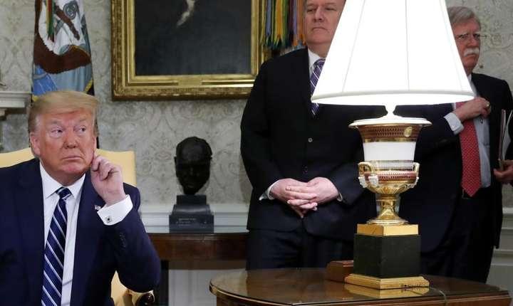 Donald Trump împreună cu Mike Pompeo şi cu John Bolton, Washington, le 20 iunie 2019.