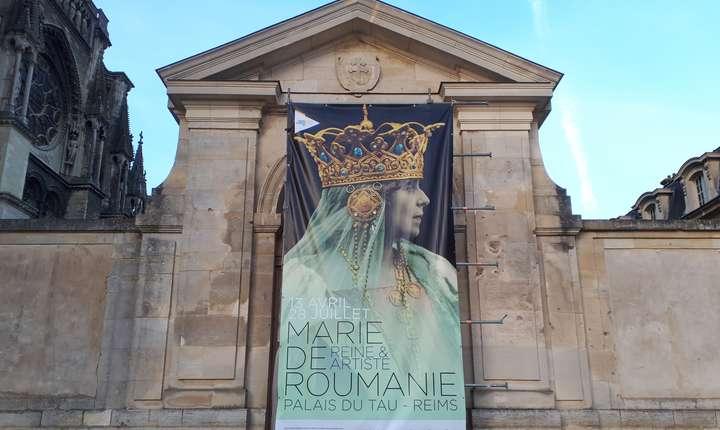 """Afisul expozitiei """"Maria de România, reginà si artistà"""" de la palatul Tau din Reims"""