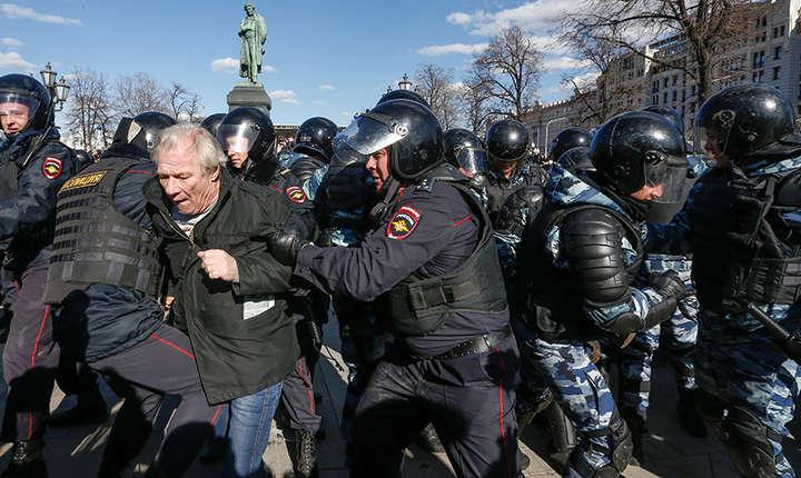 Autoritățile ruse au făcut sute de arestări la Moscova în timpul protestelor, 26 Martie 2017