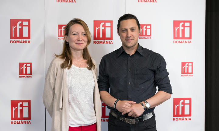 Adriana Record și Dan Pavel in studioul radio RFI Romania la Business ON AIR