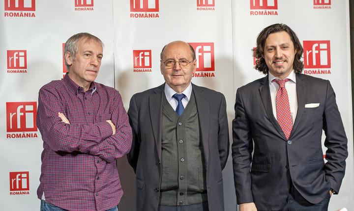 Florin Pârlea, Constantin Dumitru-Dulcan şi Dan Pavel in studioul radio RFI