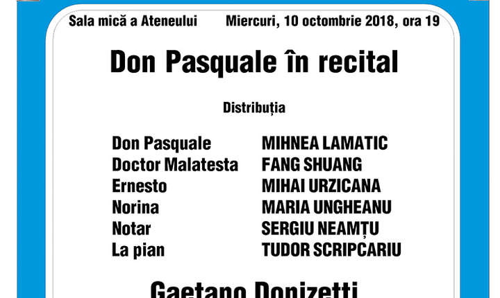 Afis Don Pasquale in recital