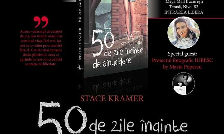 Afiș Proiect fotografic IUBESC și lansare roman 50 de zile înainte de sinucidere