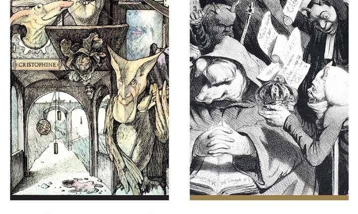 Afiș Vernisajul expoziției Întâlniri în pagini tipărite : Tudor Banuș - Honoré Daumier, MNAR 2017