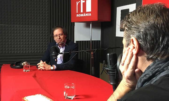 Alexandru Florian și Nicolas Don in studioul de inregistrari RFI Romania