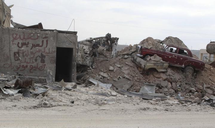 Imagine din satul Kafr Hamra, la nord de Alep, 27 februarie 2016 (Foto: Reuters/Abdalrhman Ismail)