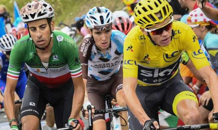 Fabio Aru, Romain Bardet și Chris Froome