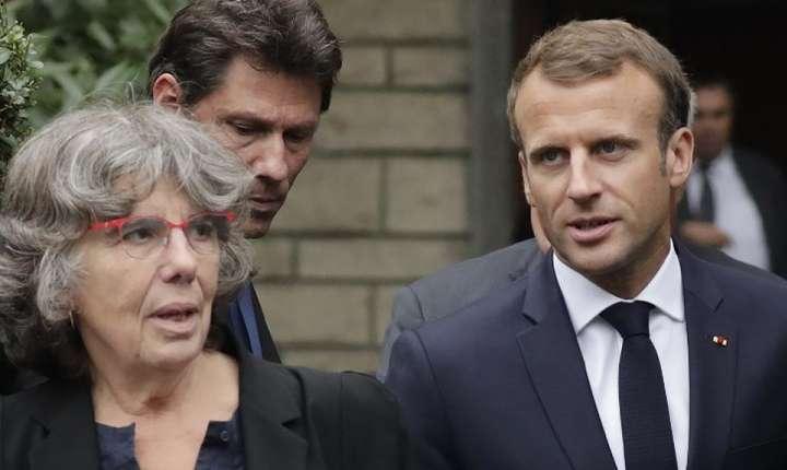 Presedintele Emmanuel Macron cu Michèle Audin, fiica lui Maurice Audin, 13 septembrie 2018
