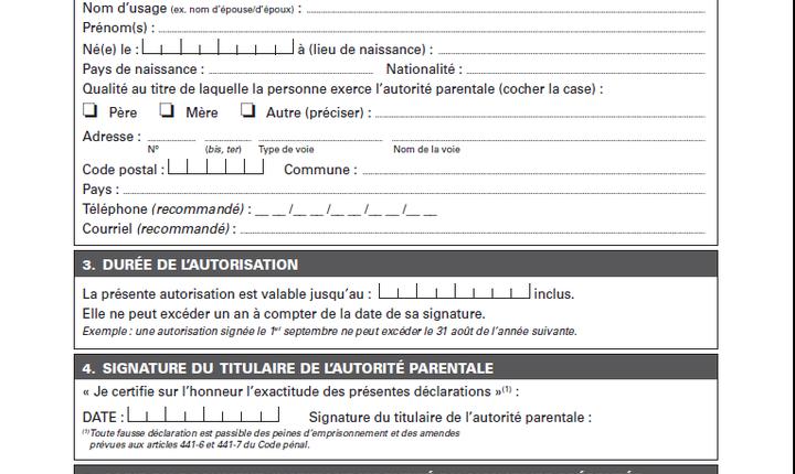 Autorizatia de iesire de pe teritoriu este obligatorie pentru orice minor care vrea sà iasà neînsotit din Franta