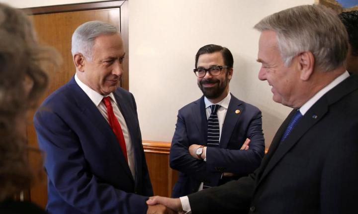 Premierul israelian Beniamin Netaniahu si ministrul francez de externe Jean-Marc Ayrault pe 15 mai 2016 la Ierusalim