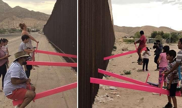 Zidul dintre Statele Unite şi Mexic afost transformat de doi arhitecți în loc de joacă pentru copii.