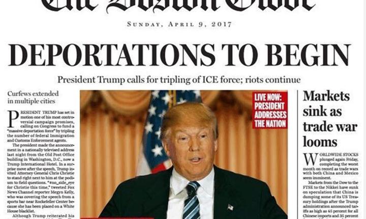 Coperta lui Boston Globe in 9 aprilie 2017 (ilustratie)