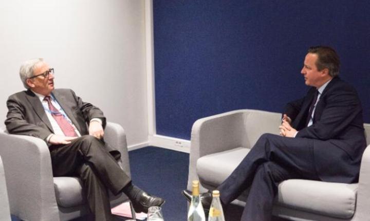 Jean-Claude Juncker şi David Cameron, februarie 2016