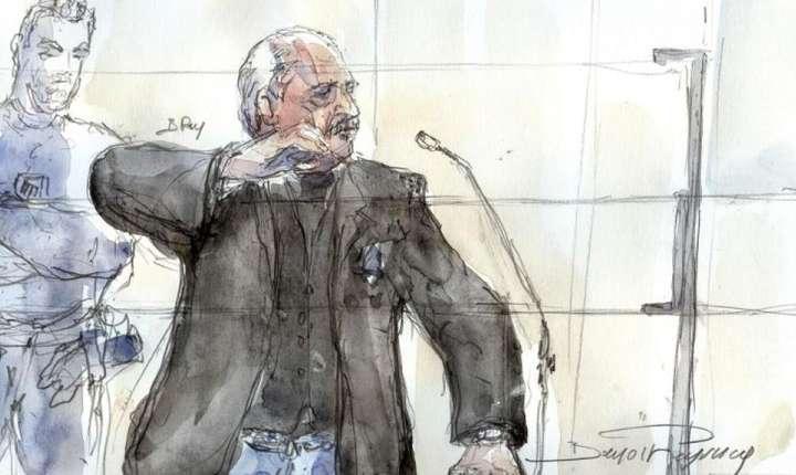 Desen reprezentându-l pe teroristul Carlos în fata Curtii speciale cu juri din Paris, 28 martie 2017