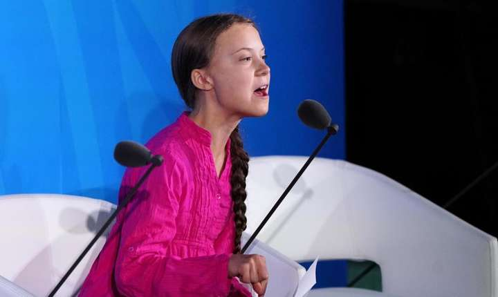 Greta Thunberg, la ONU, 23 septembrie 2019 (Foto: Reuters/Carlo Allegri)
