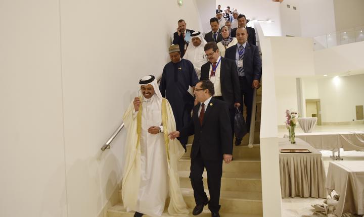 Participanţi la reuniunea OPEC din Algeria (Foto: AFP/Ryad Kramdi)