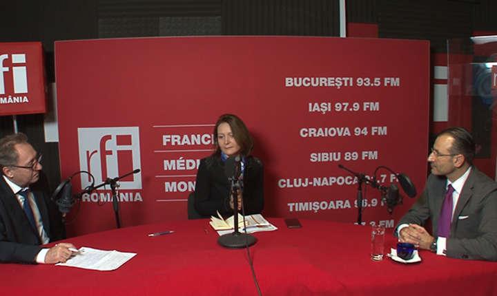 Constantin Rudniţchi, Adriana Record și Andrei Ţărnea in studioul RFI Romania