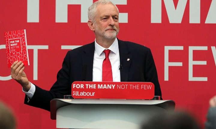 Jeremy Corbyn la lansarea manifestului electoral