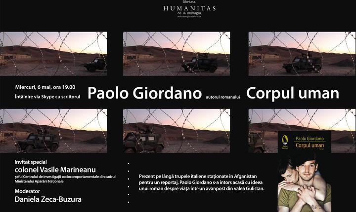 Scriitorul italian Paolo Giordano, în direct via Skype în librăria Humanitas de la Cișmigiu - Afis