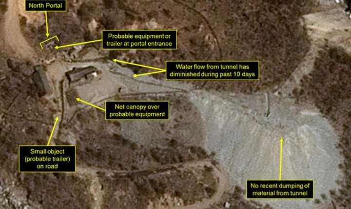 Vedere de ansamblu a centrului de exeperiente nucleare de la Punggye-ri, situat la frontiera cu China.