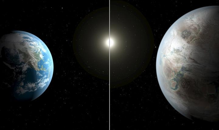 Ilustraţie NASA: Terra faţă în faţă cu Kepler 452 b (Foto: Reuters/NASA/Ames/JPL-Caltech)
