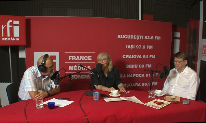 Ovidiu Nahoi, Lidia Moise și Ion M Ioniță in studioul de inregistrari RFI Romania