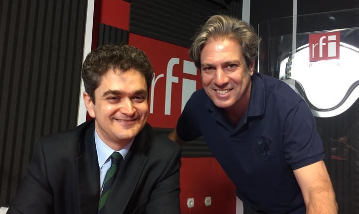 Theodor Paleologu și Nicolas Don in studioul radio RFI Romania, la emisiunea Bilant Provizoriu
